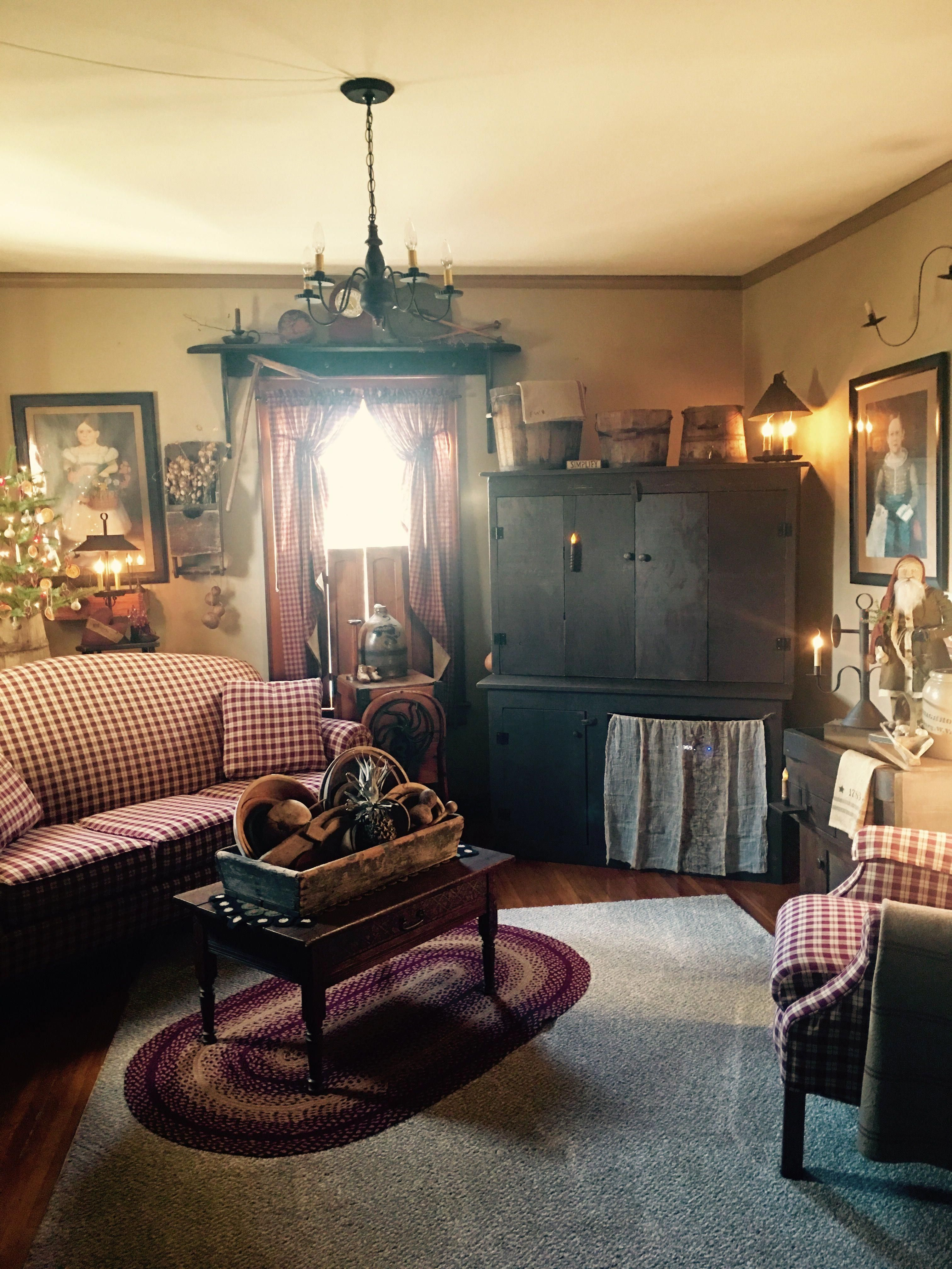 Primitive Country Living Room Decorating Ideas: Primitive Living Room #Primitivekitchen