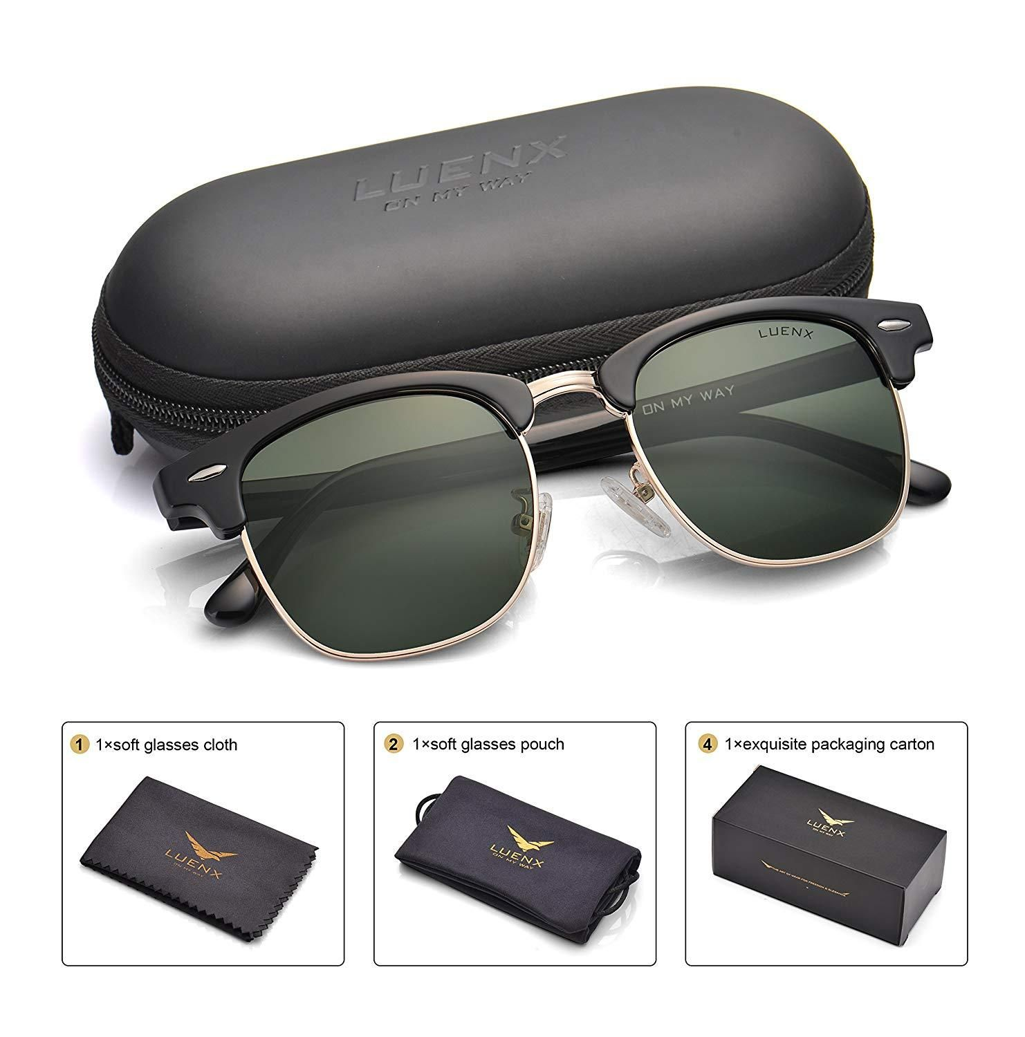 UV 400 Protection 60mm Sunglasses Men LUENX Aviator