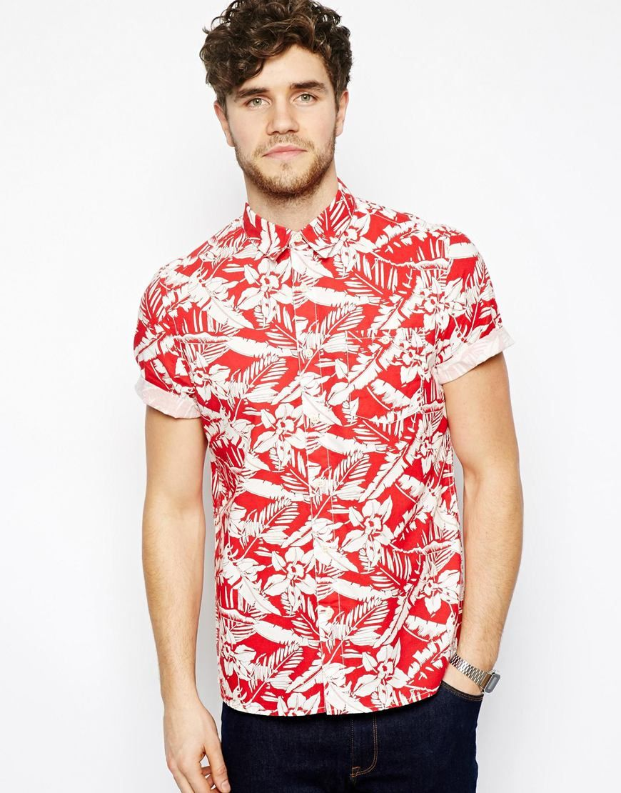 27633542802 ASOS Shirt With Floral Print with Short Sleeves in Red