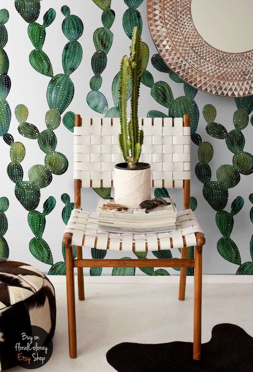 Green cactus wallpaper, Boho style, Wall mural, Cactus