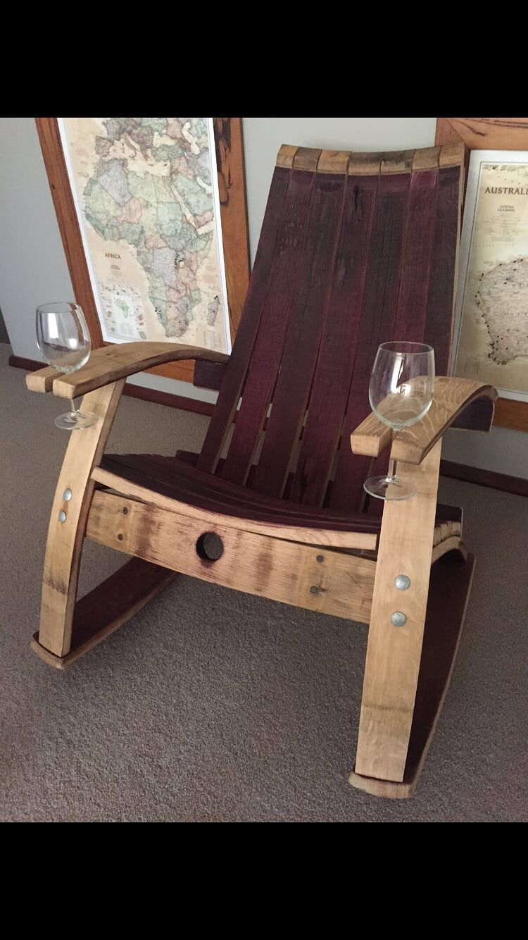 Wine barrel chair with holder & Wine barrel chair with holder | country living | Pinterest | Barrels ...