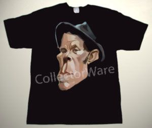 TOM WAITS cartoon 2 CUSTOM ART UNIQUE T-SHIRT Each T-shirt is individually hand-painted, a true and unique work of art indeed!  To order this, or design your own custom T-shirt, please contact us at info@collectorware.com, or visit http://www.collectorware.com/tees-tom_waits.htm