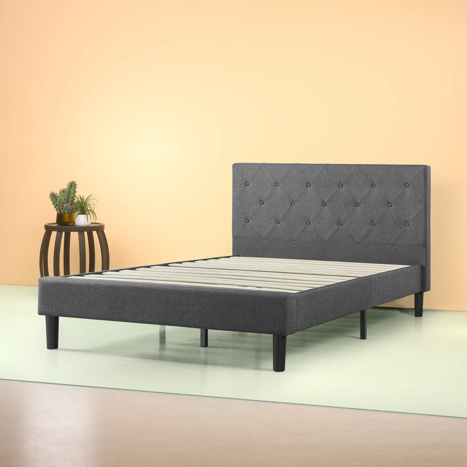 Zinus Upholstered Diamond Stitched Platform Bed As an