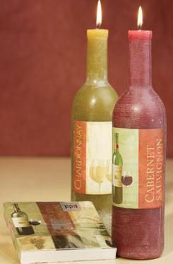 DIY: a bottle of wine wine bottle tallow candle diy project