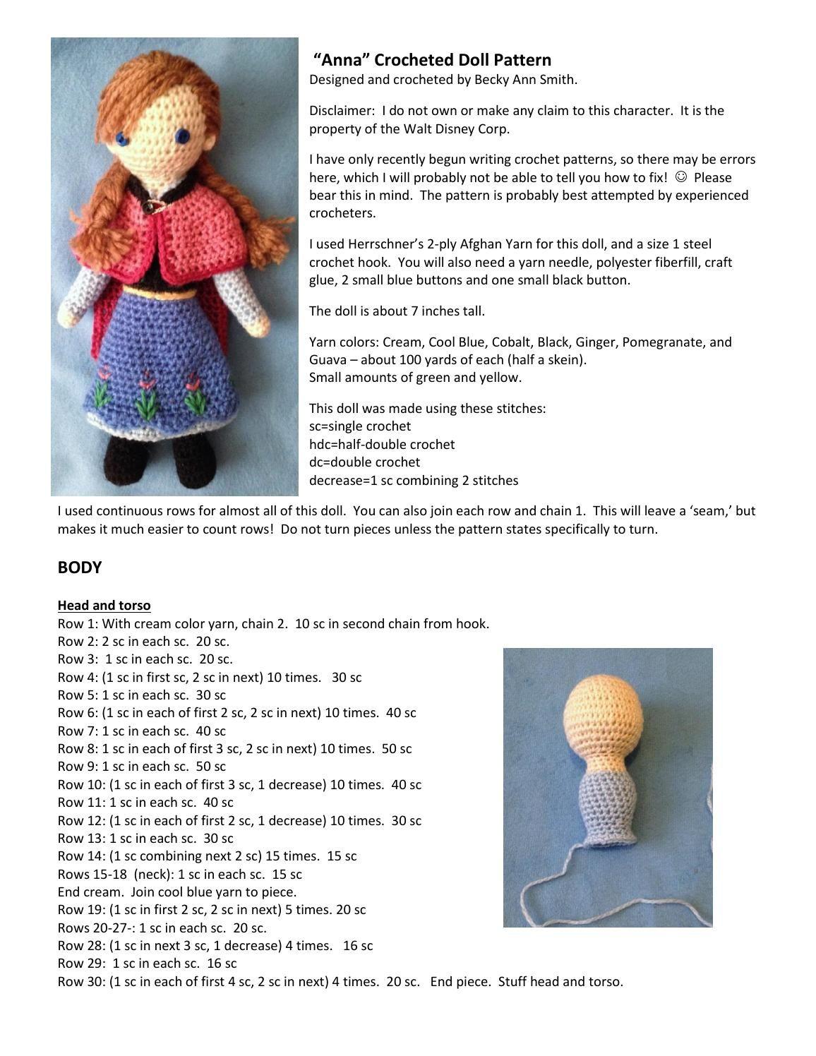 Anna crocheted doll pattern | Crochet doll pattern, Crochet dolls ...