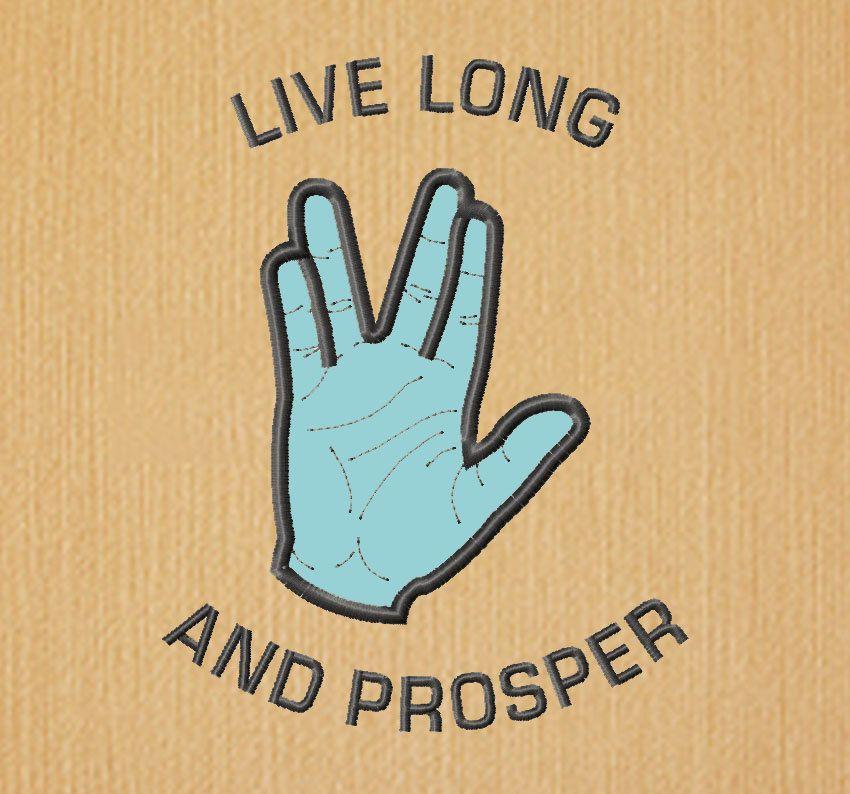 BOGO FREE! Live long and prosper, Star Trek Applique Design,Vulcan ...