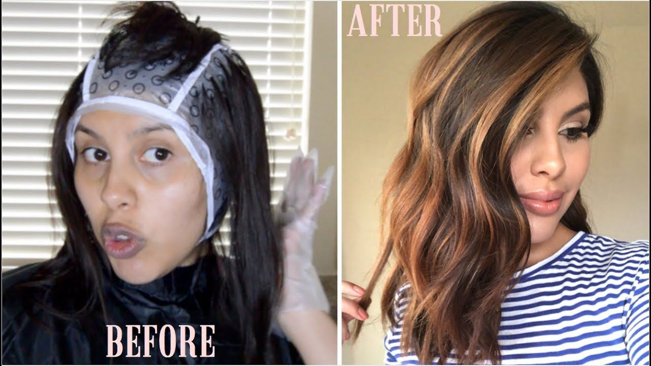 Diy Balayage Using Cap Revlon Frost Glow Highlighting Kit Diy Highlights Hair Hair Highlights Diy Balayage