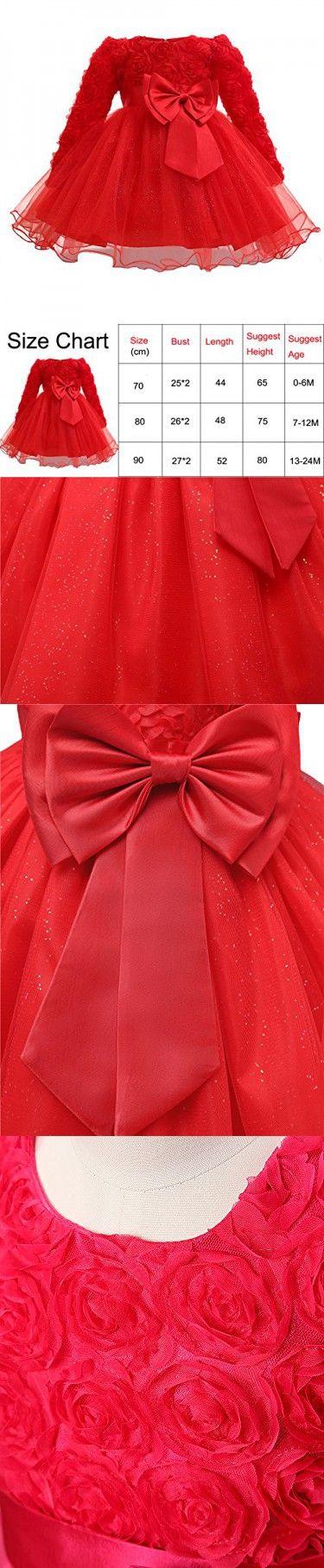 e0534ca977eb Myosotis510 Girls  Lace Princess Wedding Baptism Dress Long Sleeve ...