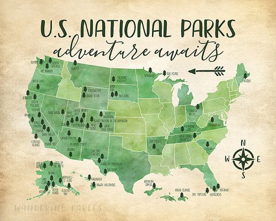 US National Parks Map Adventure Mountains Parks Rivers Tribal - Rivers in the us map