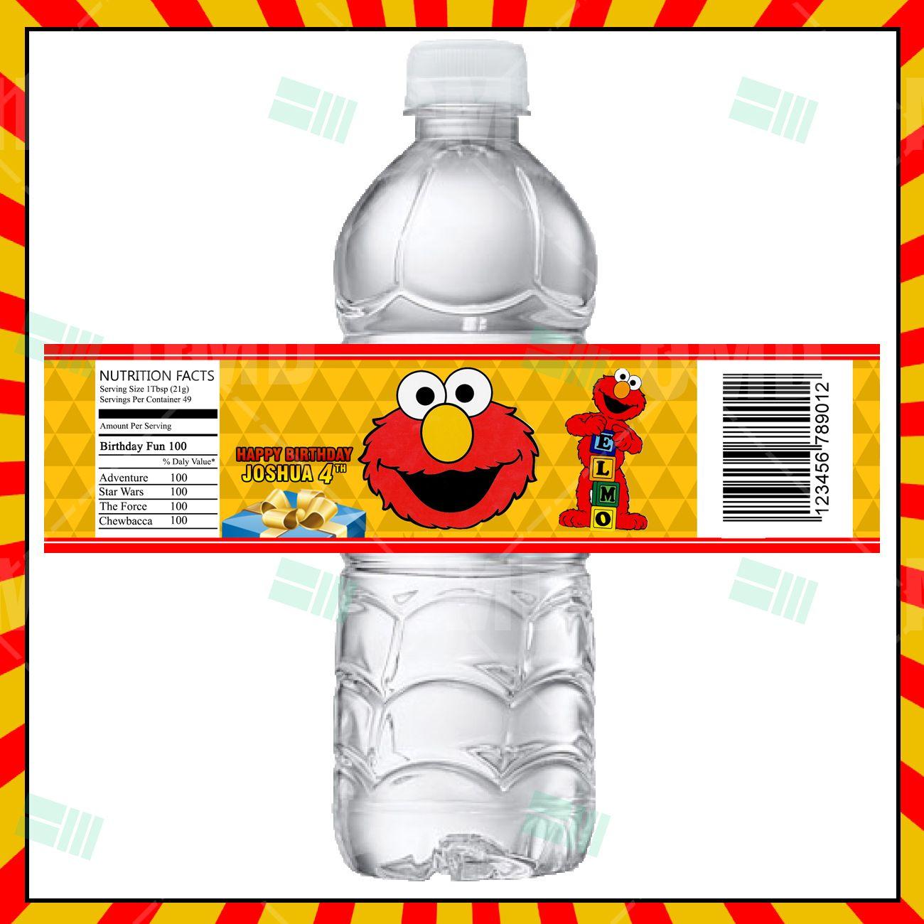 Elmo Sesame Street Cartoon Party Bottle Labels