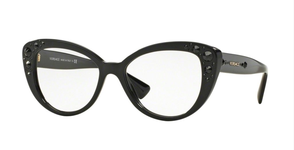16d7abdf7f7 Versace plastic cat eye glasses with beveled décor at the temples that  looks…