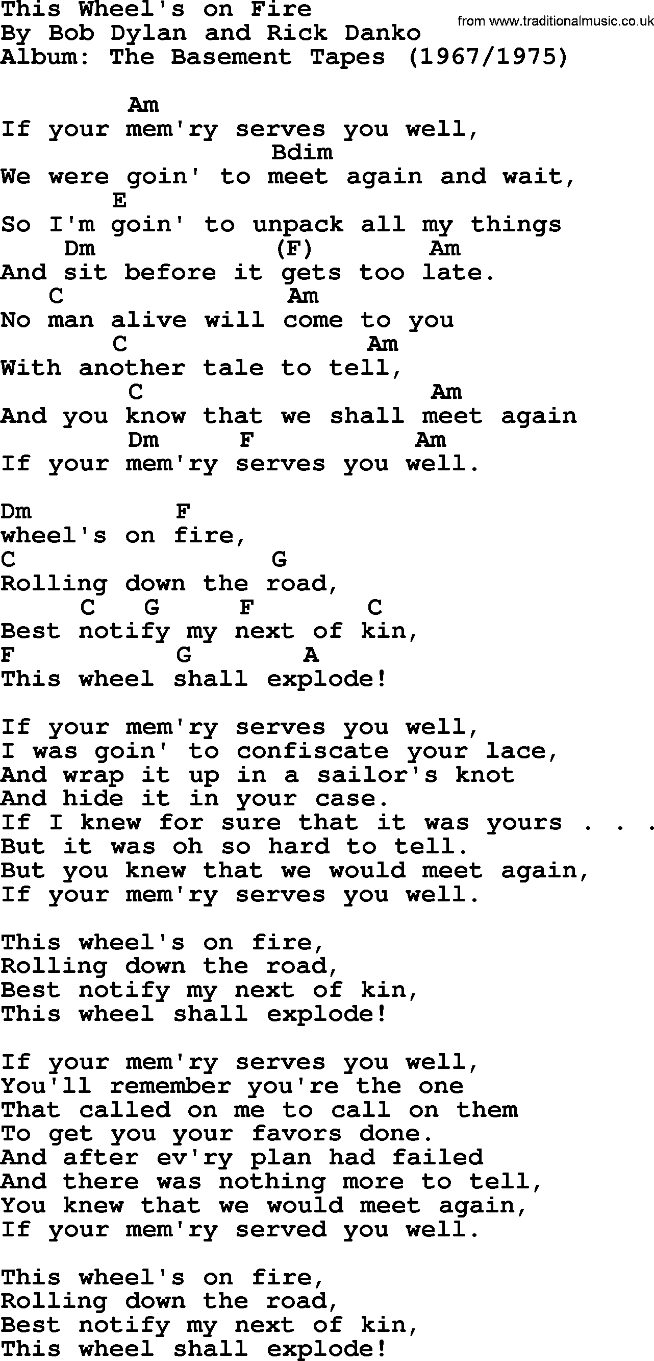 Bob Dylan Song Lyrics With Chords This Wheel S On Fire Bob Dylan Songs Lyrics And Chords Bob Dylan