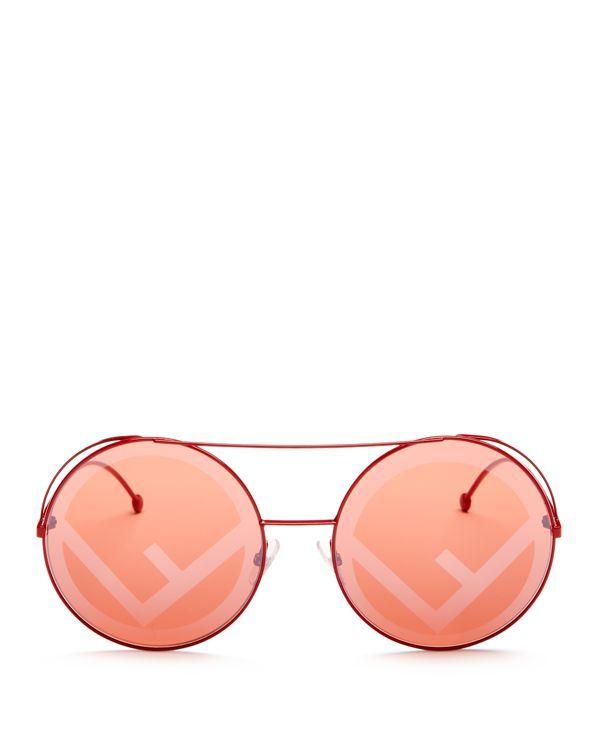 96e6ec08e6 Women s Mirrored Oversized Logo Print Lens Round Sunglasses