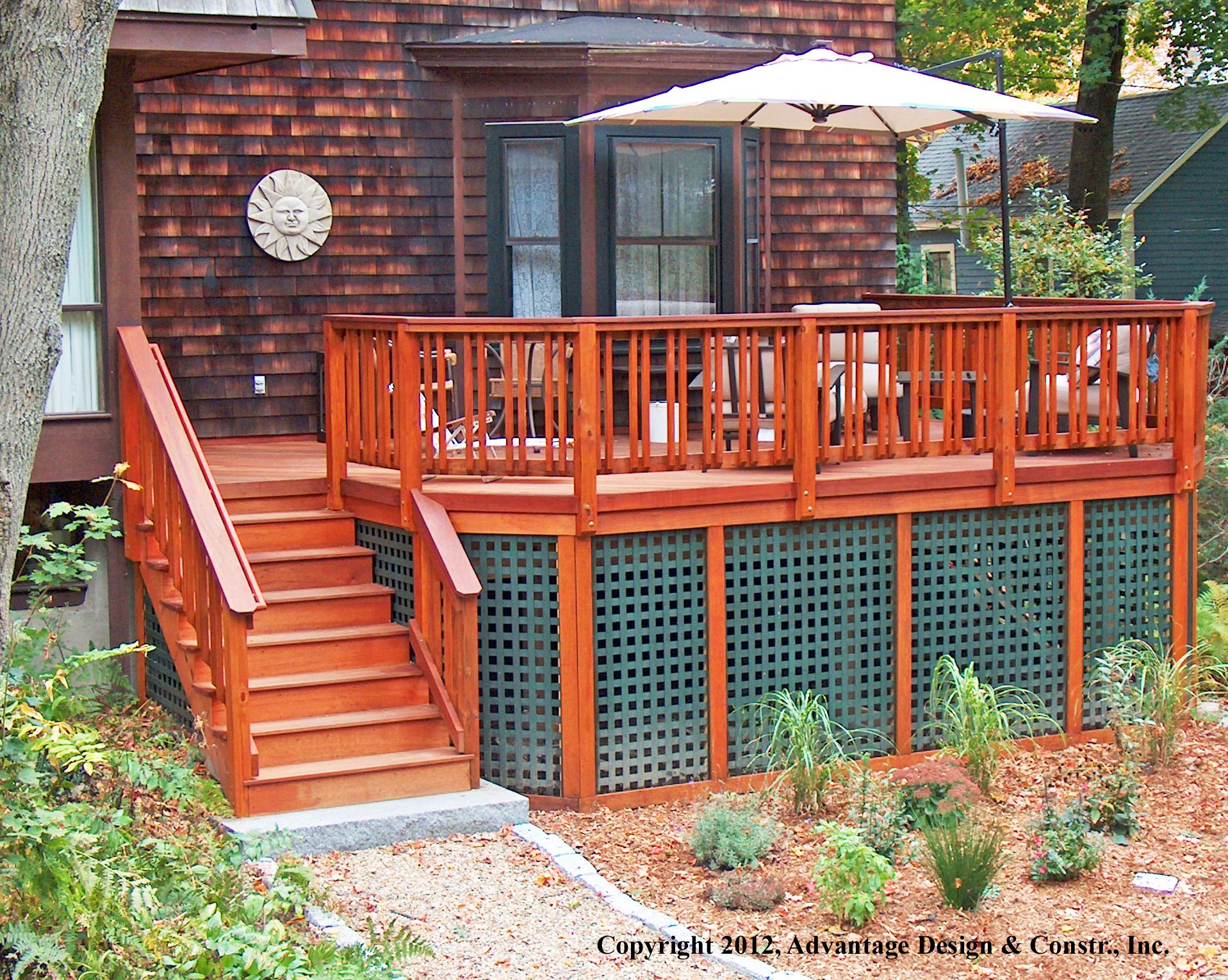 Green Plastic Lattice With Wood Deck Decking Patios