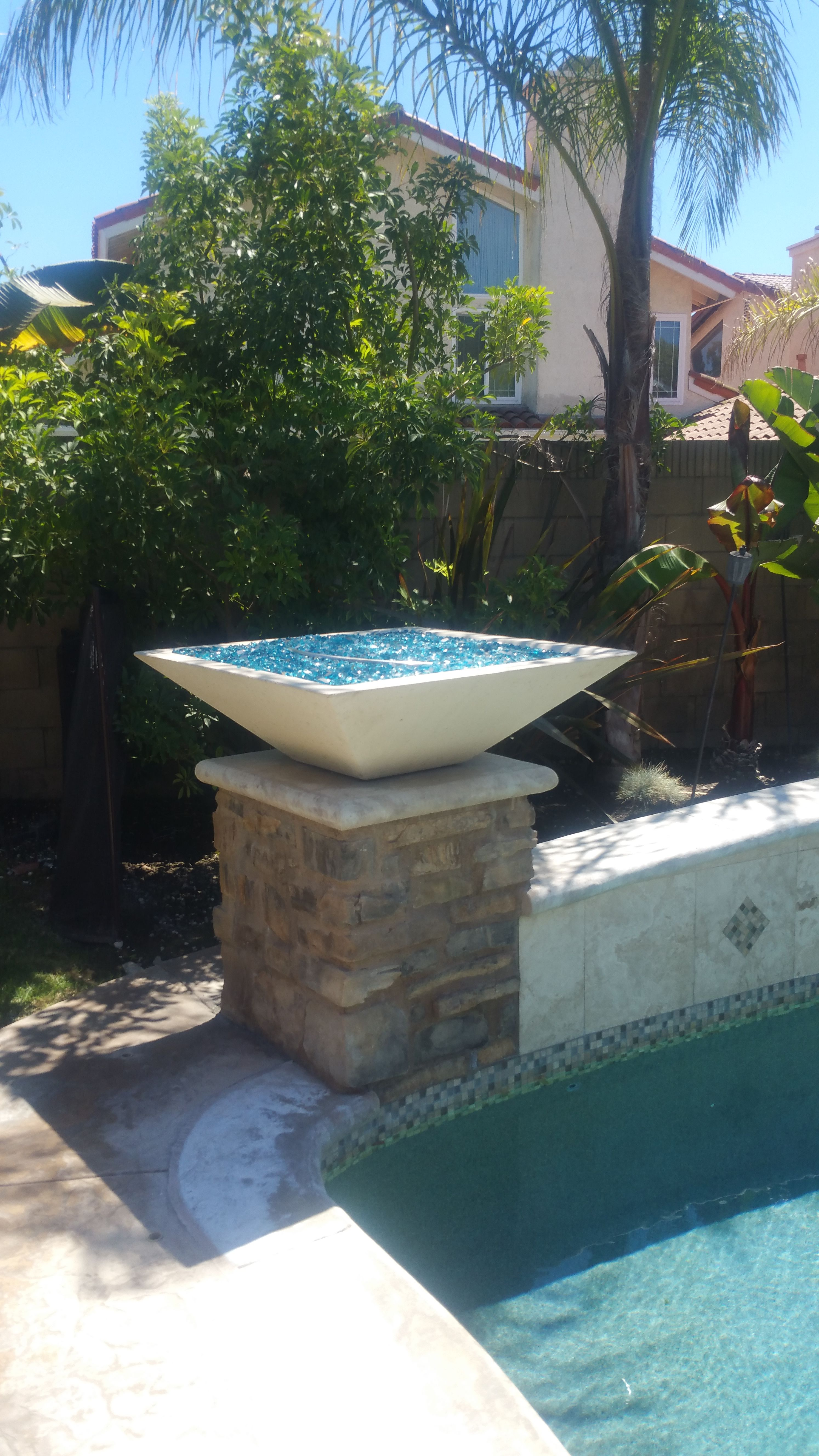 Square Fire Bowl With Blue Fire Glass See Website For More Info