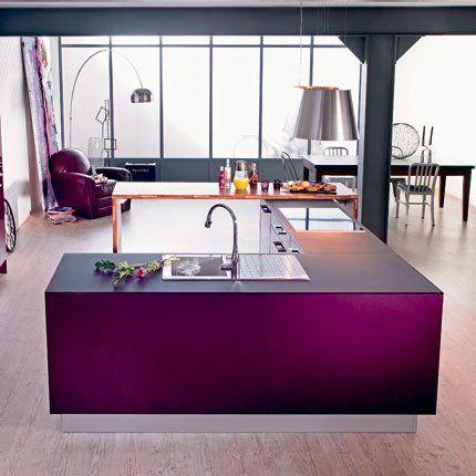 cuisine rive droite à deux blocs couleur pourpre aux fonctions