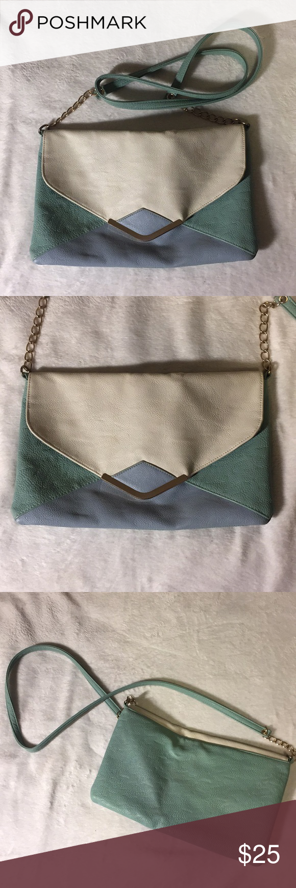 Bershka's Suite Blanco Faux Leather blue green Bag