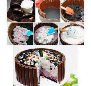 Mmm kit kat oreo ice cream cake