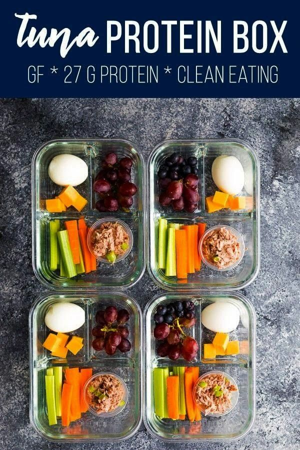 protein box is filled with protein-packed foods tuna salad, cheese, and hard boiled eggs. Inspired