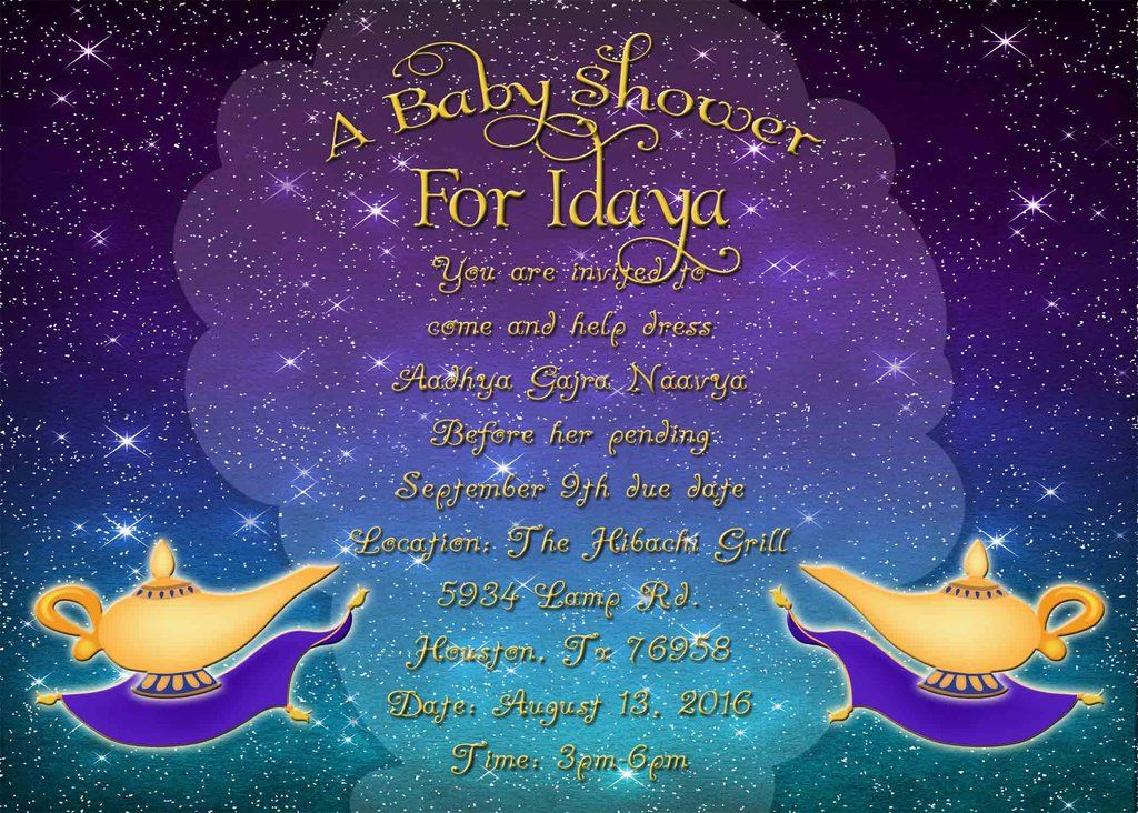 Arabian Nights Magic Carpet Genie Lamp Indian Baby Shower Party Invitation Custom Order Baby Shower Party Invitations Indian Baby Showers Baby Shower Vintage