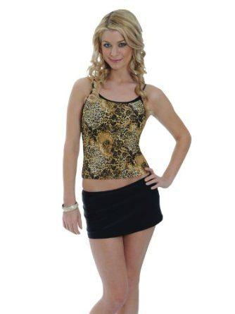 Animal Print Tankini Top with Black Skirted Bikini Bottoms Womens 2 PC Set Swim wear Sizes S M L or XL
