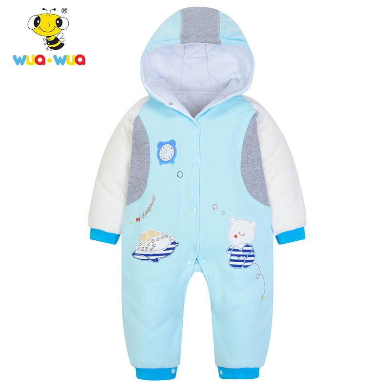 749e9ca5900 Wua Wua Winter Warm Fleece Baby Boy Rompe Thicken Cotton Jumpsuits Newborn  Hooded Rompers Coverall Baby