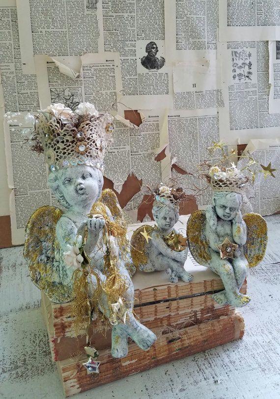 CHERUB Figurine Shelf Sitters Angel Figurines by TheVintageStories