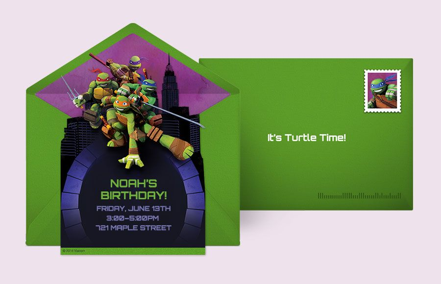 Customizable Free TMNT Action Pose Online Invitations Easy To Personalize And Send For A Ninja Turtles Birthday Party Punchbowl