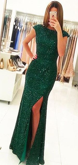 248bb70b02 Sexy Side Slit Cap Sleeves Emerald Green Sequins Open Back Mermaid ...