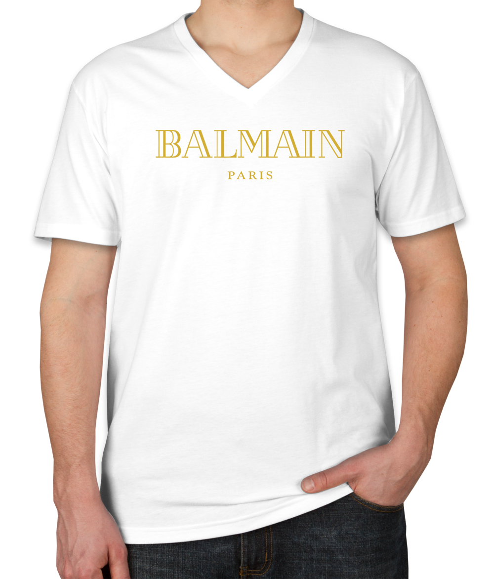 ce25dee7dd1a5f Unisex Gucci Shirts For Men And Satisfaction Guarantee. Amazing Balmain  Gold Logo Unisex V-Neck T-Shirt