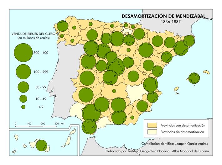 Mapa de desamortización de Mendizábal. (1836-1837). España. | Mapas,  Historia de españa, Geografia e historia