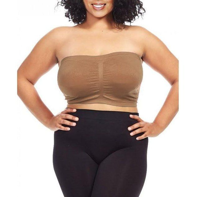 5eb3154a1bf Dinamit Women s Plus Size Light Brown Seamless Padded Bandeau Top (Blue -  4X 3X) (spandex)