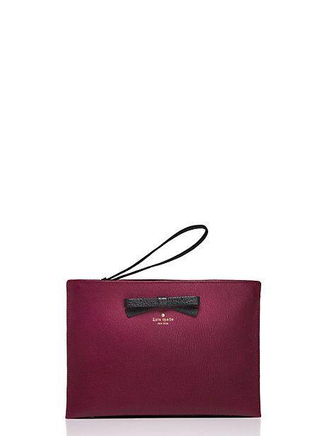 on purpose leather wristlet, burgundy