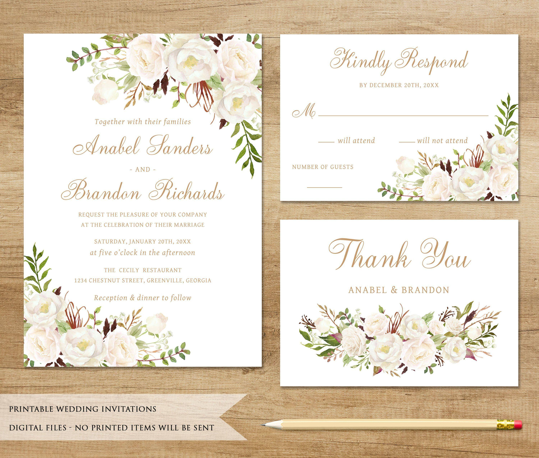 White Floral Wedding Invitation Printable Wedding Invitat Wedding Invitations Printable Templates Fun Wedding Invitations Floral Wedding Invitations Printable