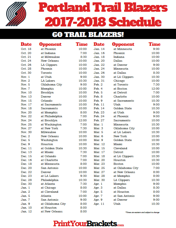 2017 2018 Portland Trail Blazers Schedule Printable Nba Schedules