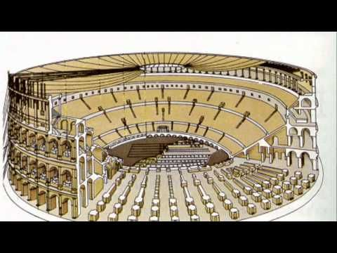 Roman Architecture, The Colosseum, Video 12:28 by Prof. Kenney Mencher.  Colosseum (Flavian Amphitheater). Rome, Italy. Imperial Roman. 70–80 C.E. Stone and concrete.