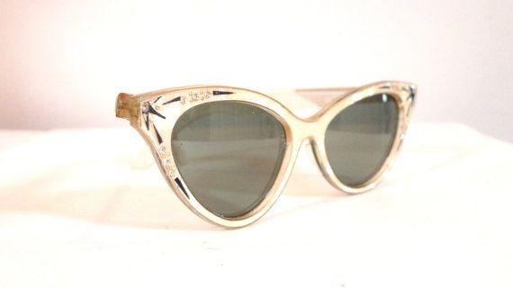 2e37577b3dcd5 Vintage 50s Foster Grant NonPrescription Rhinestone Cat Eye by BibbysRocket