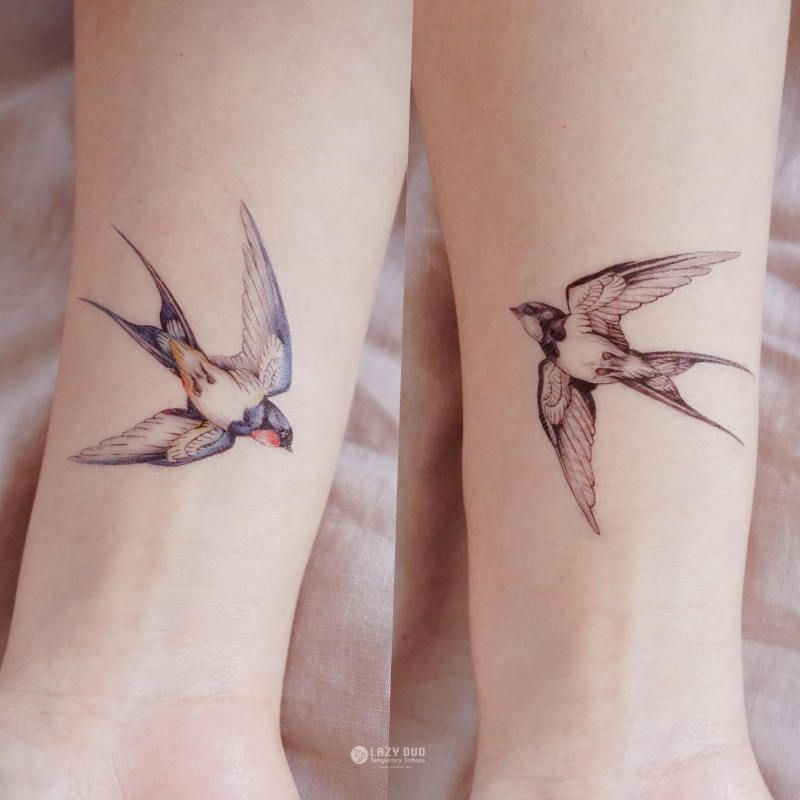 Color Temporary Tattoo Swallow tattoo Bird tattoo Peace Animal tattoo Fake Tattoo Quote Realistic tattoo Sticker boho tattoo bohemian Tattoo -   22 flower bird tattoo ideas
