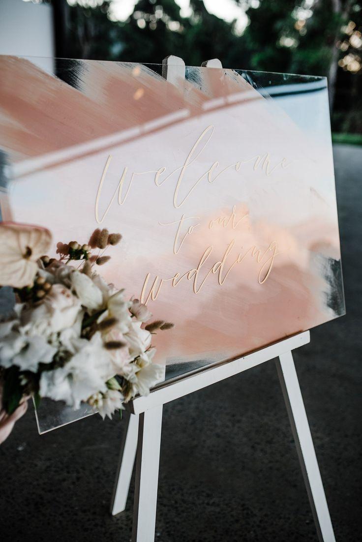 Handgemaltes Willkommens-Hochzeits-Zeichen. Acryl Hochzeit Zeichen. Erröten Hochzeit Zeichen. Ce