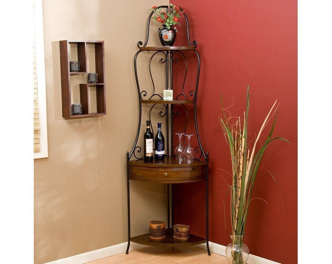 Representation Of Wrought Iron Corner Shelf Ideas Wood Corner