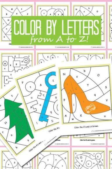 Color By Letters Alphabet Shapes | Proyectos de arte, Símbolos y ...