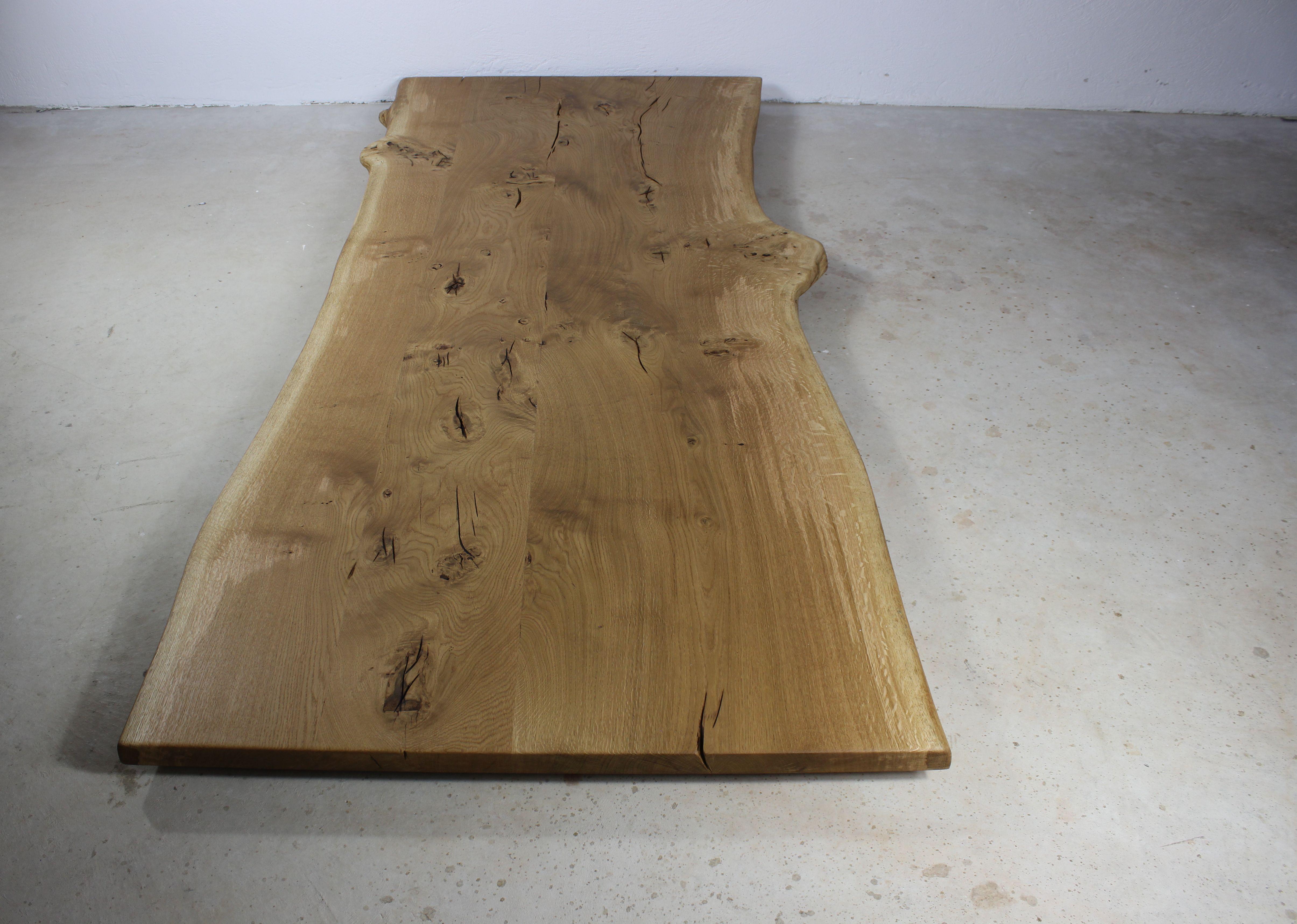 Tischplatte Massivholz Eiche Geolt Mit Baumkante 90x200 Cm