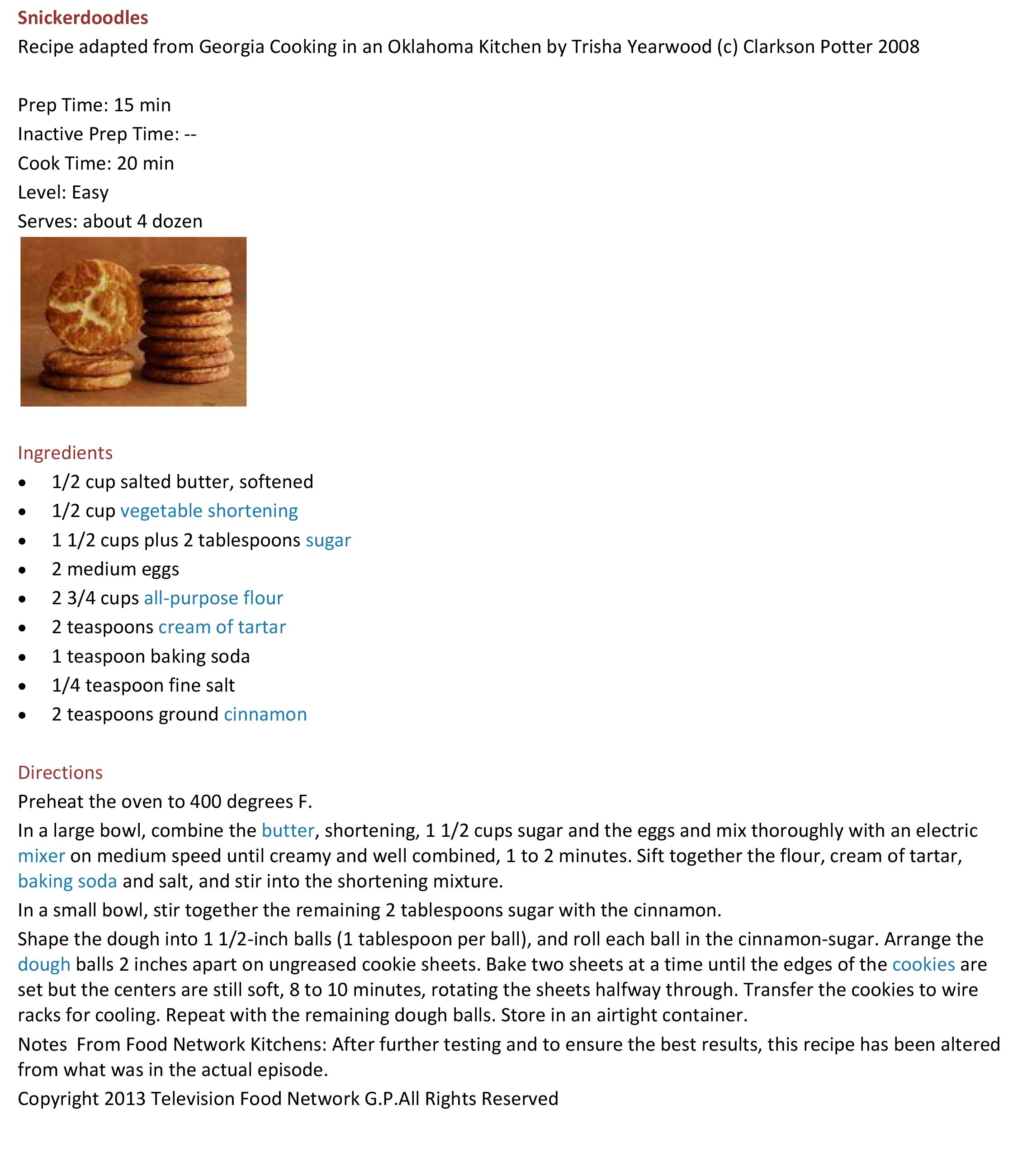 Trisha Yearwood\'s Snickerdoodles   Trisha Yearwood\'s TV Recipes Look ...