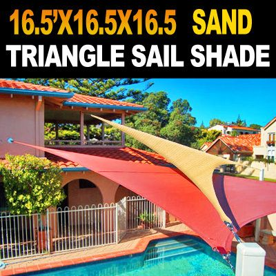 NEW 20u0027x20u0027x20u0027 TRIANGLE OUTDOOR SUN SAIL SHADE CANOPY COVER - SAND & NEW 20u0027x20u0027x20u0027 TRIANGLE OUTDOOR SUN SAIL SHADE CANOPY COVER ...