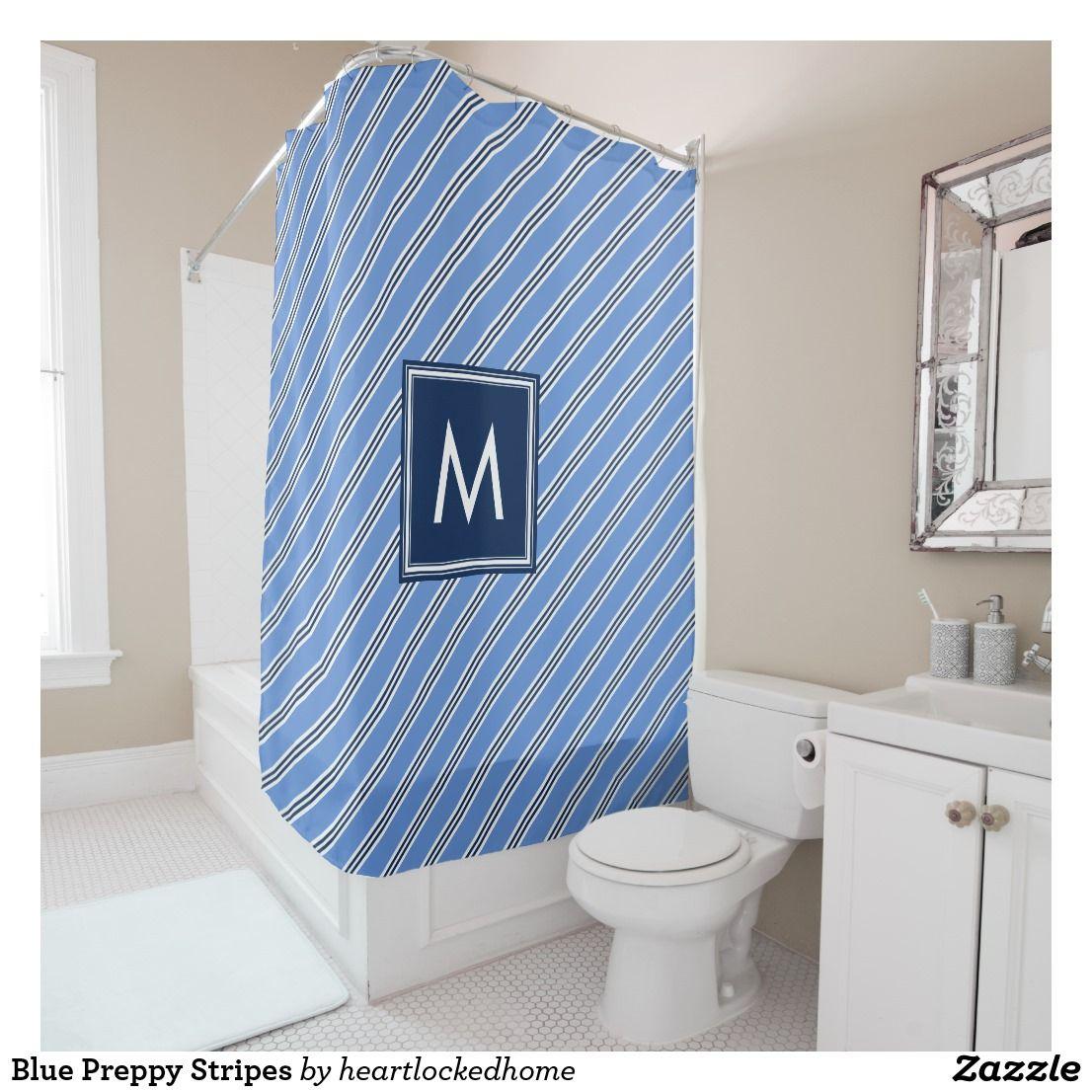 Blue Preppy Stripes Shower Curtain | Bath:Shower Curtains ...
