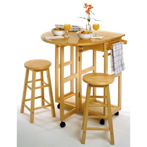 Kitchens · Natural Round Wheeled Breakfast Bar with Stools  sc 1 st  Pinterest : wheeled stools kitchen - islam-shia.org