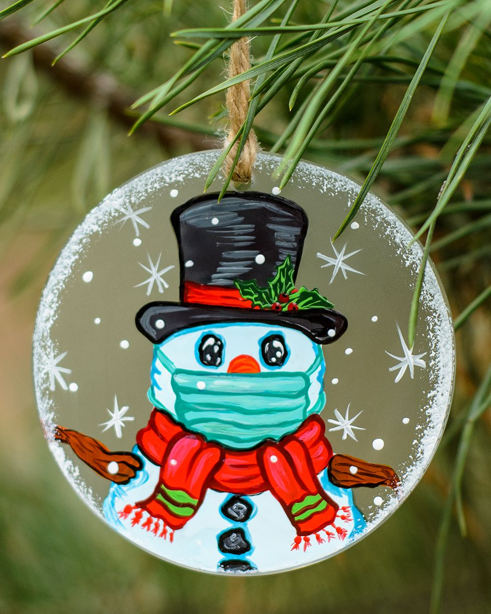 2020 Christmas Ornament Hand Painted Snowmen Wearing A Face Mask Ornament Hand Painted Ornaments Snowman Painting Personalized Christmas Ornaments