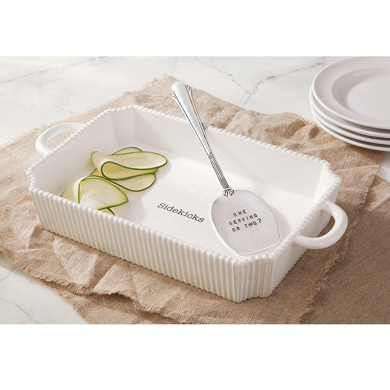 Amazon.com: Mud Pie Circa Casserole Set, White: Kitchen & Dining ...