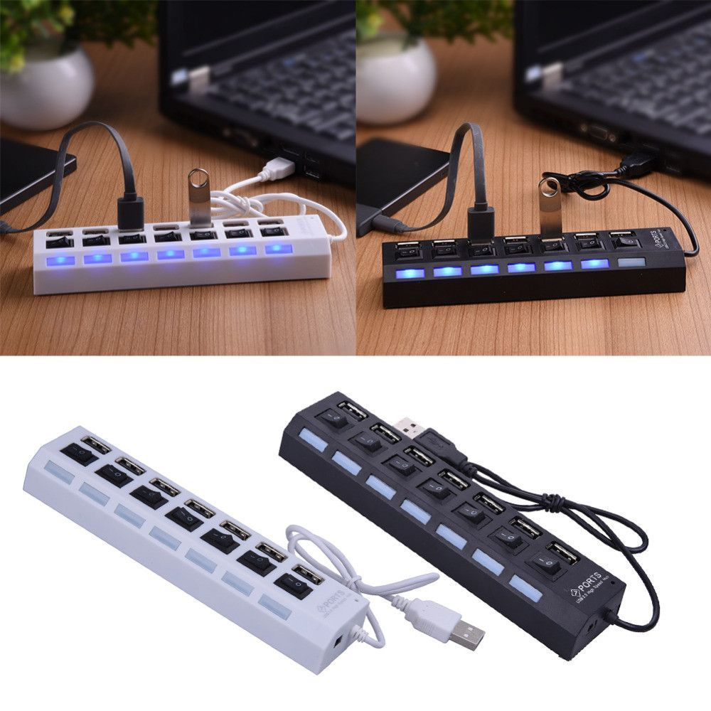 High Speed Micro Usb Hub 40cm 7 Port 20 Power Adapter Cable Splitter For