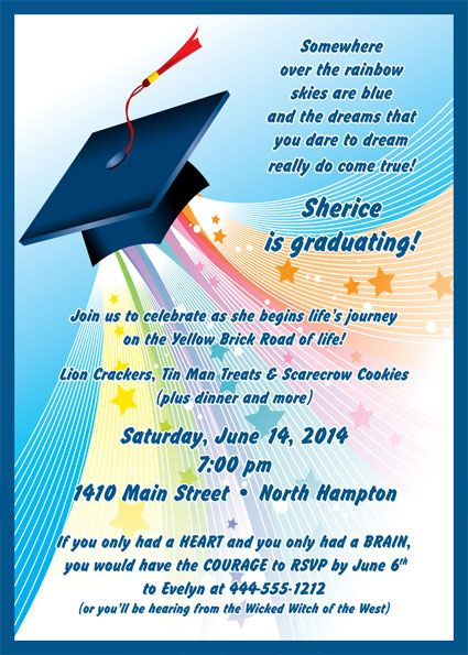Graduation Land Of Oz Invitation Somewhere over the rainbow – Invitation for Graduation Day